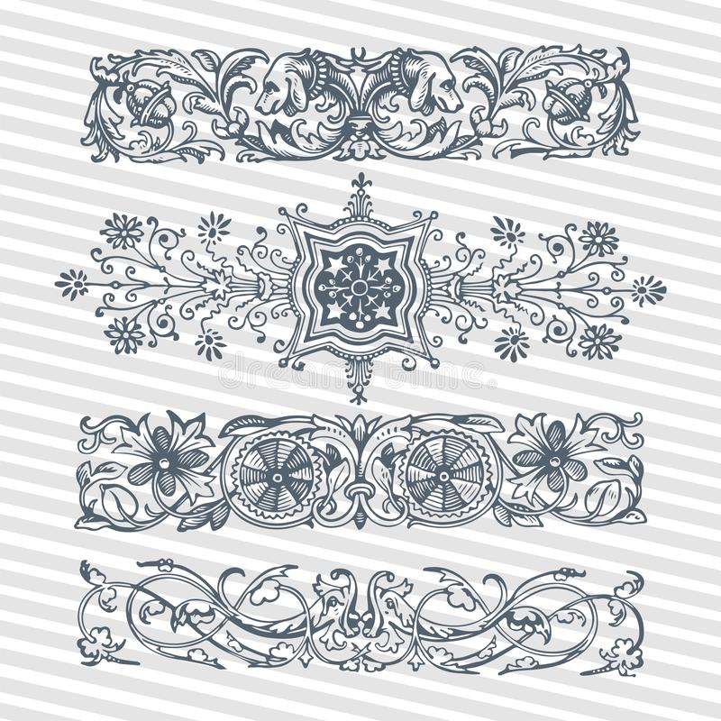 Vector Set Vintage Ornate Frames With Retro Ornament Pattern In ...
