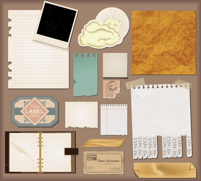 Vector set : vintage paper. Set royalty free illustration