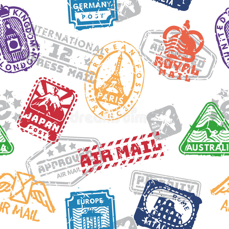 Vector set of vintage postage mail stamps seamless pattern vector illustration