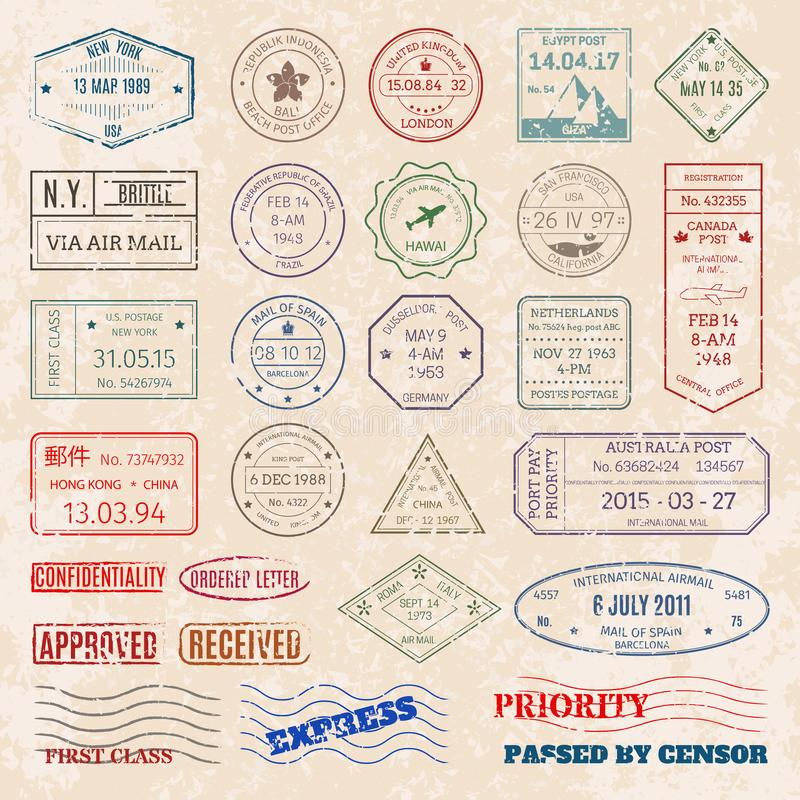Vector set vintage postage stamps from countries all over world stamp different mail grunge postmark illustration. royalty free illustration