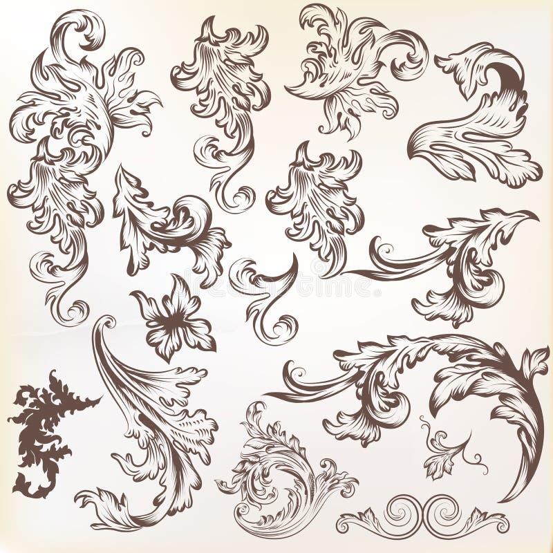 Download Vector Set Of Vintage Swirl Elements For Design Stock Vector - Image: 31982414