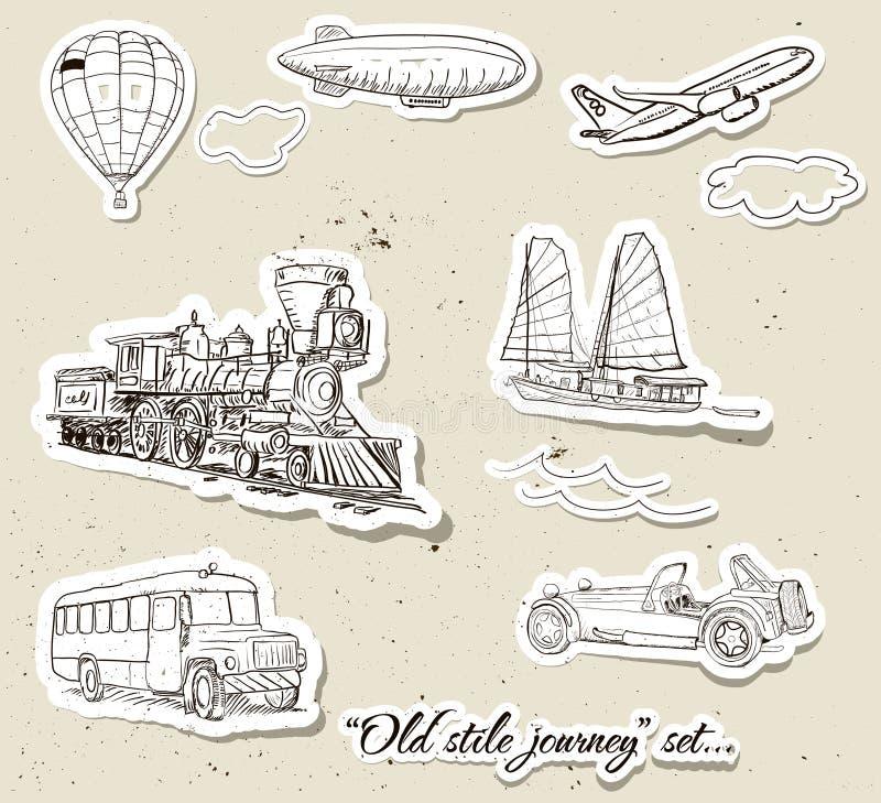 Vector set of vintage transport. Set of vintage transport. Vector illustration EPS10 stock illustration