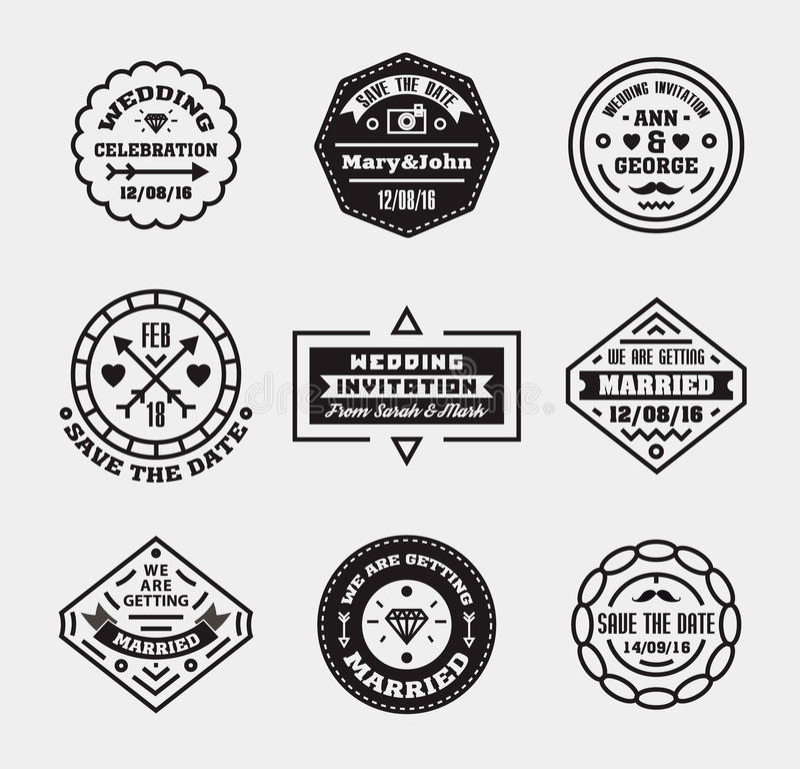 Vector Set Of Vintage Wedding Badges, Sings, Logos. Stock Vector ...