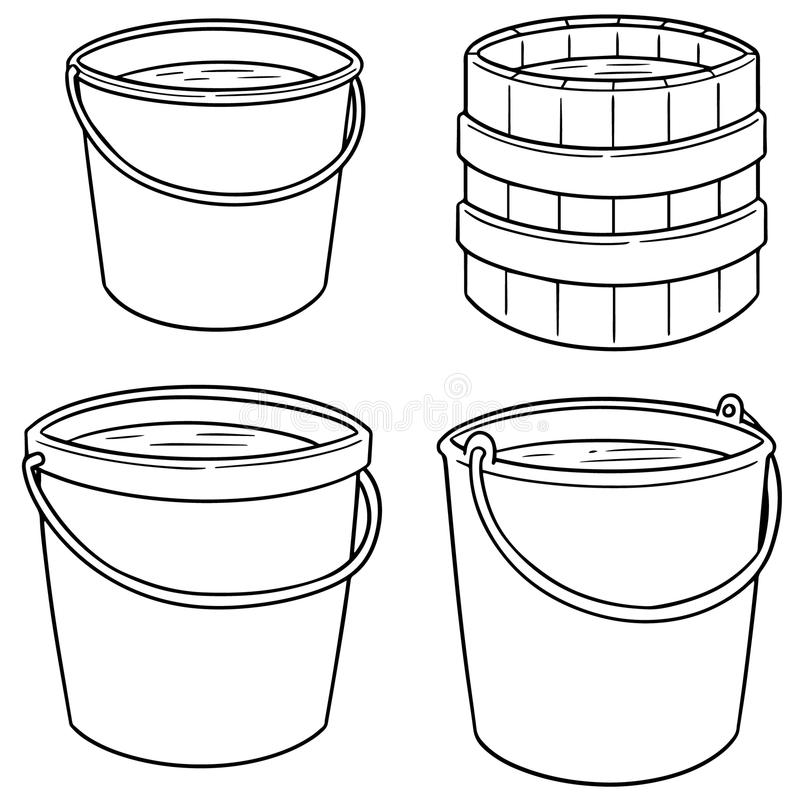 Vector set of water buckets. Hand drawn cartoon, doodle illustration royalty free illustration
