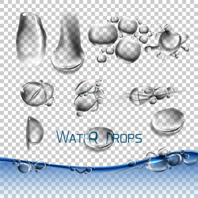 Vector set water drops, transparent. Suitable for any background set with shadow and without different species, an example of using stock illustration