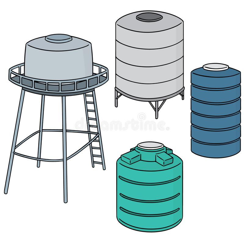Vector set of water storage tank. Hand drawn cartoon, doodle illustration royalty free illustration