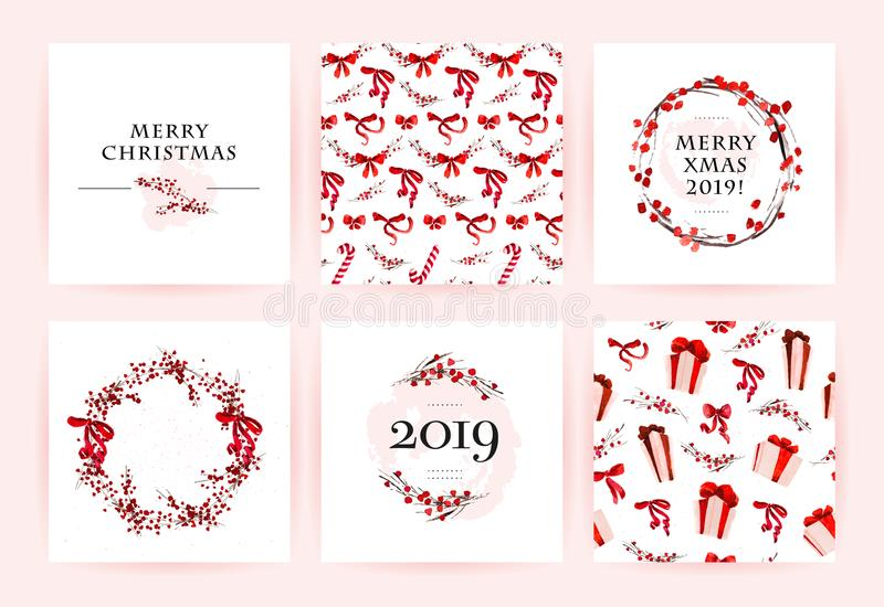 Vector set of watercolor hand drawn cards for Merry Christmas celebration congratulation cards, patterns, party invitation and pac. Kaging design. Artistic decor royalty free illustration