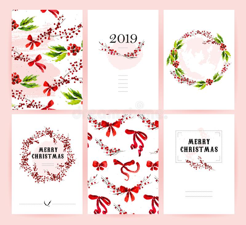 Vector set of watercolor hand drawn cards for Merry Christmas celebration congratulation cards, patterns, party invitation and pac. Kaging design. Artistic decor vector illustration