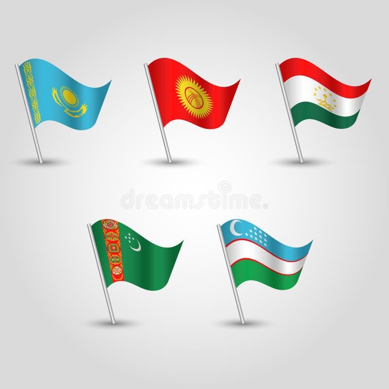 Vector set of waving flags central asia - icon of states kazakhstan, kyrgystan, tajikistan, uzbekistan, stock illustration