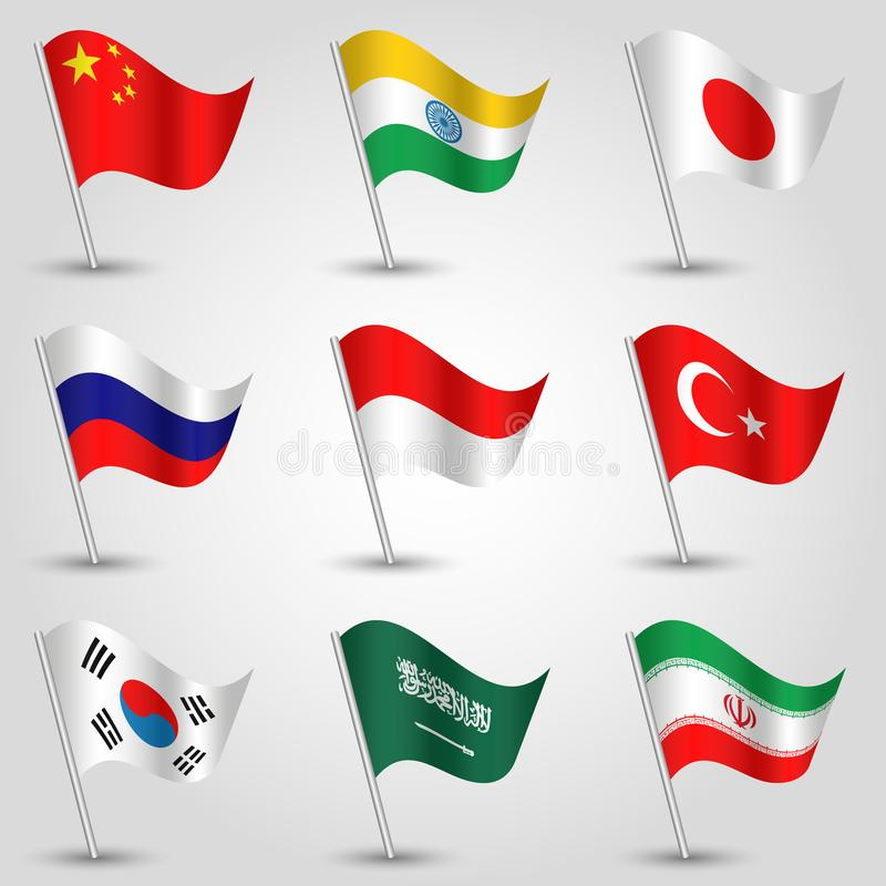 Vector set of waving flags countries largest economies on silver pole - icon of states china, india, japan, russia, indonesia. Vector set of waving flags vector illustration