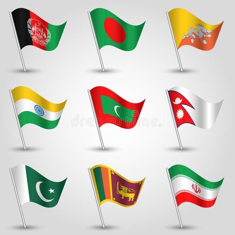 Vector set flags countries of south asia on silver pole - icon of states afghanistan, bangladesh, bhutan, india, royalty free illustration