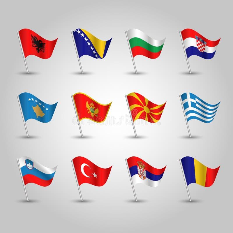 Vector waving flags southeastern europe on silver pole - icon of states albania, bosna and herzegovina, bulgaria, croatia, stock illustration