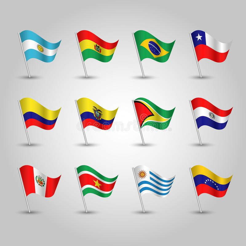 Vector set waving flags southern america on silver pole - icon of states argentina, bolivia, brazil, chile, colombia, ecuador, stock illustration
