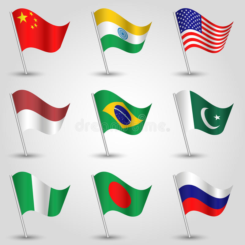 Vector set waving flags of states with biggest population on silver pole - icon of country china, india, united states of stock illustration