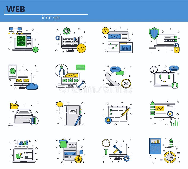 Vector set of web development and office icons in thin line style. Website UI and mobile web app icon. Outline design stock illustration