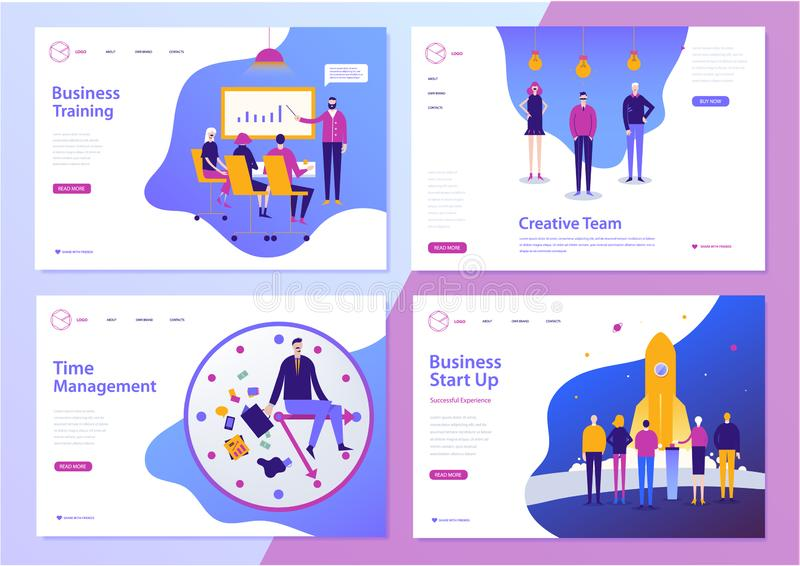 Vector set of web page design templates for business, finance and marketing. Modern character illustrations for website stock photos