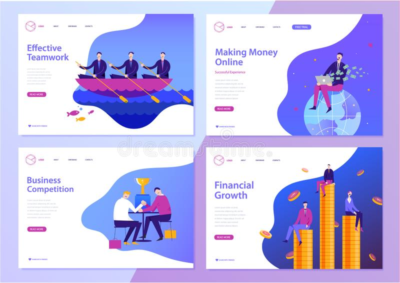 Vector set of web page design templates for business, finance and marketing. Modern character illustrations for website stock photo