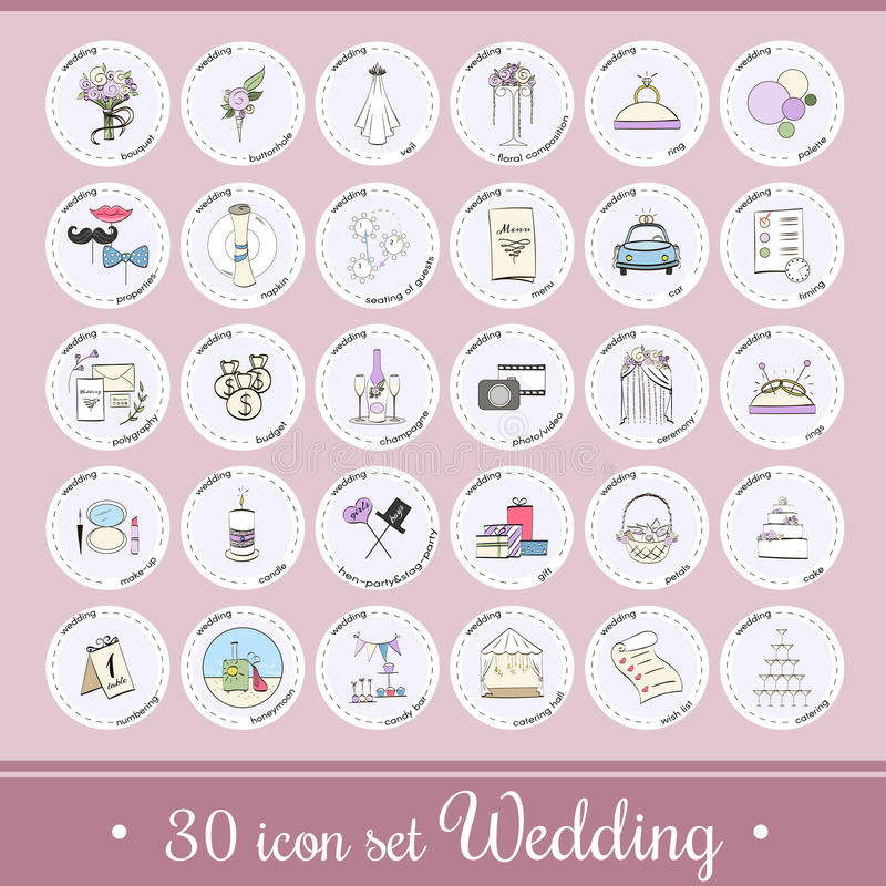 Vector set with wedding icons and elements vector illustration