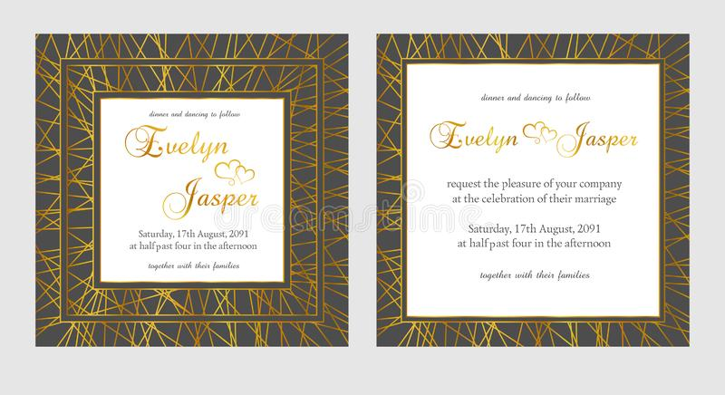 Vector set of wedding invitations. On a dark black gray background with gold lines, stripes, guides. In a decorative square frame vector illustration