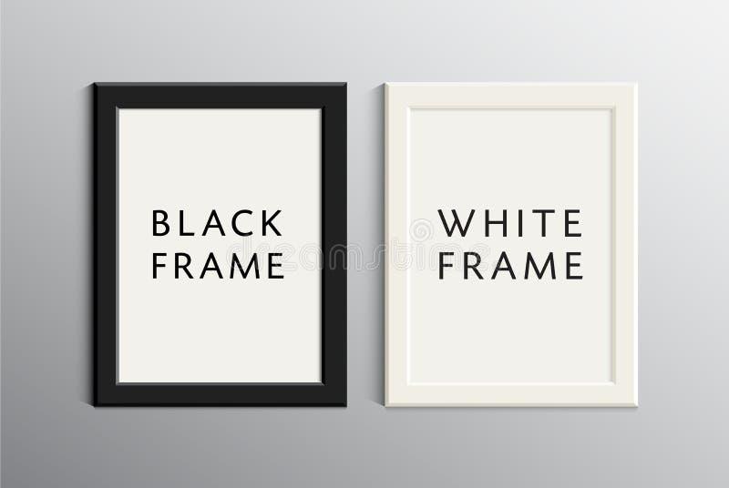 Vector set of white and black empty frames stock illustration
