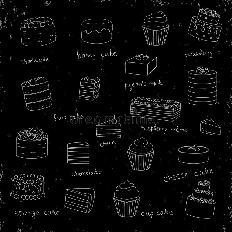 Vector set of white cakes on black shabby background with texture royalty free illustration