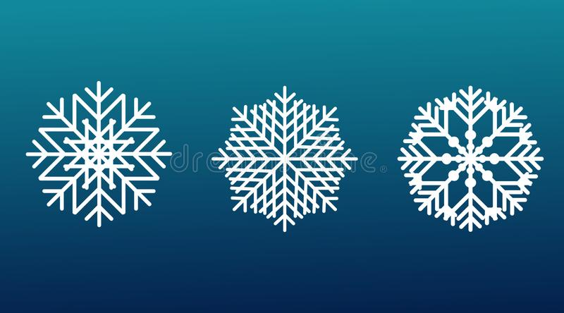 Vector set of 3 white Christmas snowflakes on blue isolated background. New year design elements stock photos
