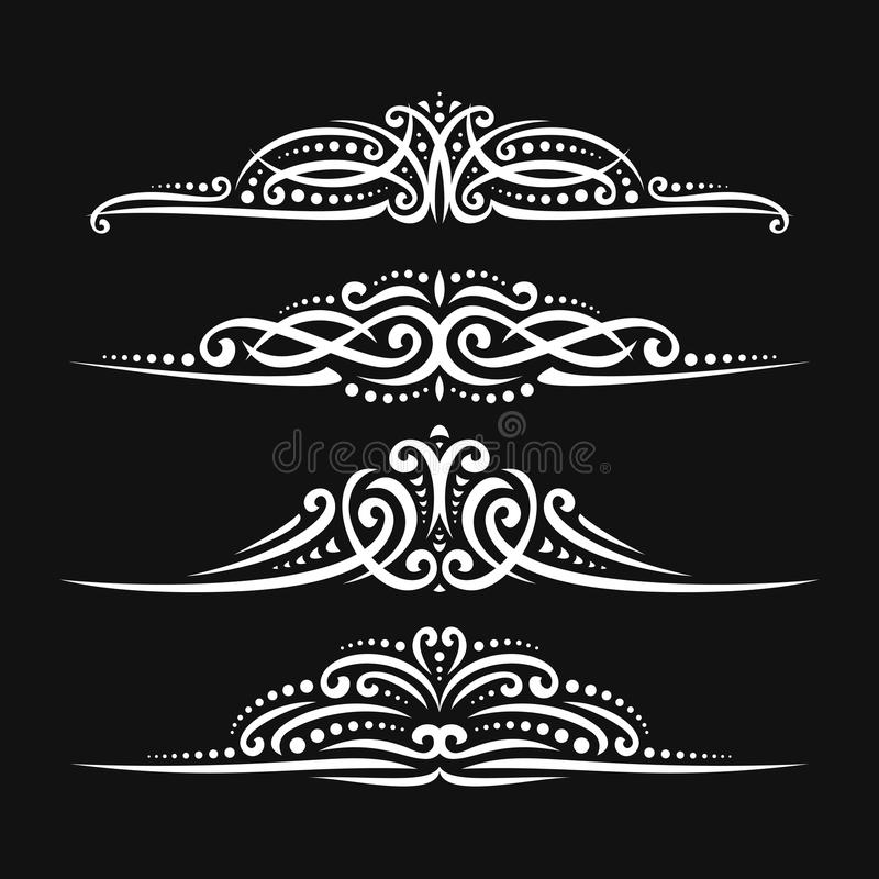 Vector set of white page dividers. For greeting text, 4 filigree separators of indian style for wedding title, design elements for create border, ornate royalty free illustration