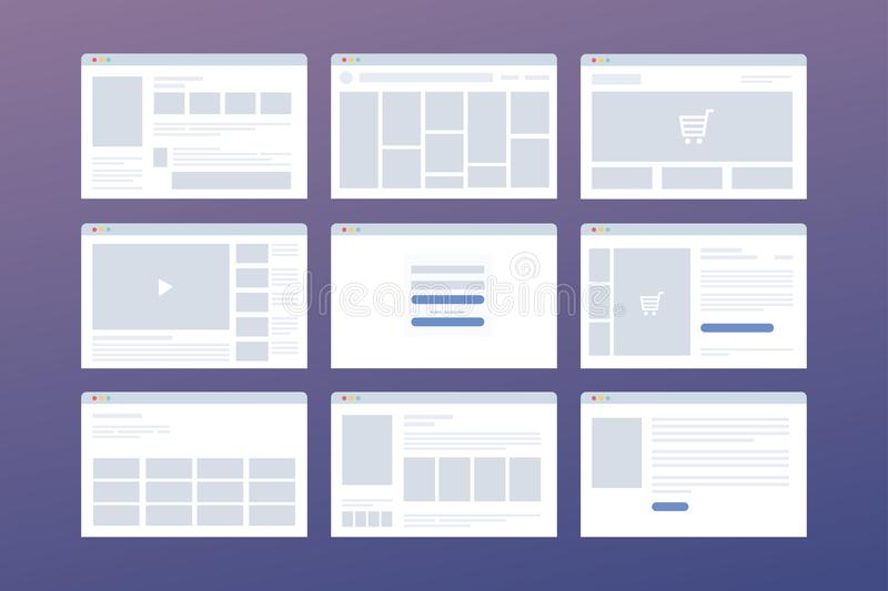 Vector set of windows with website page template. Concept of social media: online store, login, video hosting. Interface on laptop in browser royalty free illustration