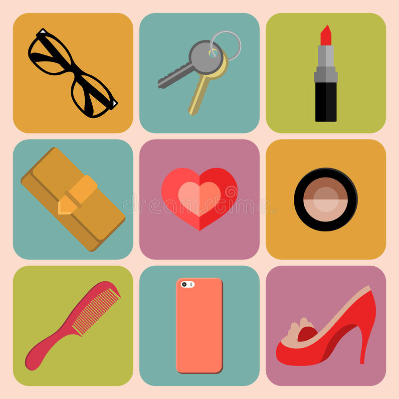 Vector set of woman accessories app icons with sunglasses, purse, comb, lipstick, heart, phone etc. in trendy flat style royalty free illustration