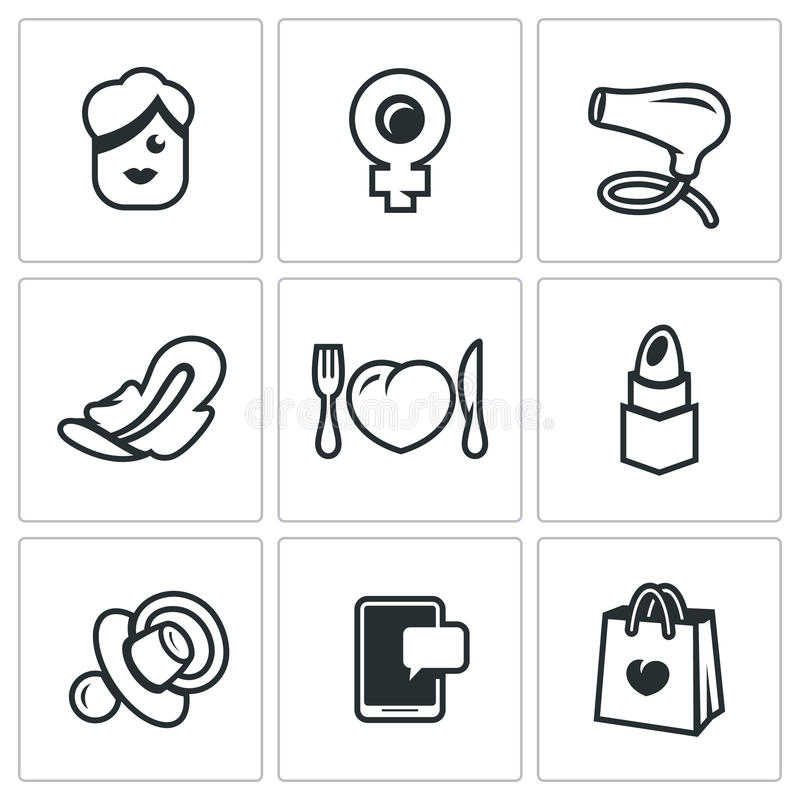 Vector Set of Woman and her habits Icons. Female, symbol of Venus mirror, hair dryer, feminine pad, heartbreaker stock illustration