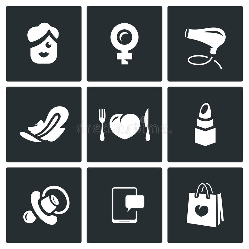 Vector Set of Woman and her habits Icons. vector illustration