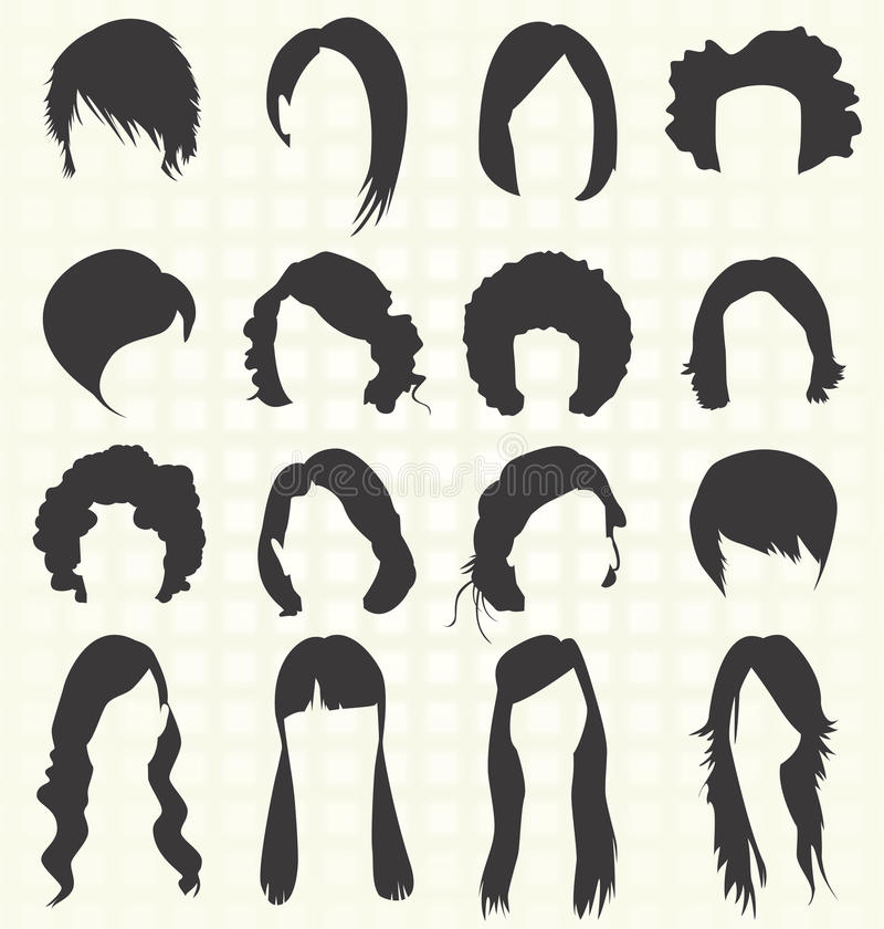Vector Set: Women Hairstyle Silhouettes Stock Vector