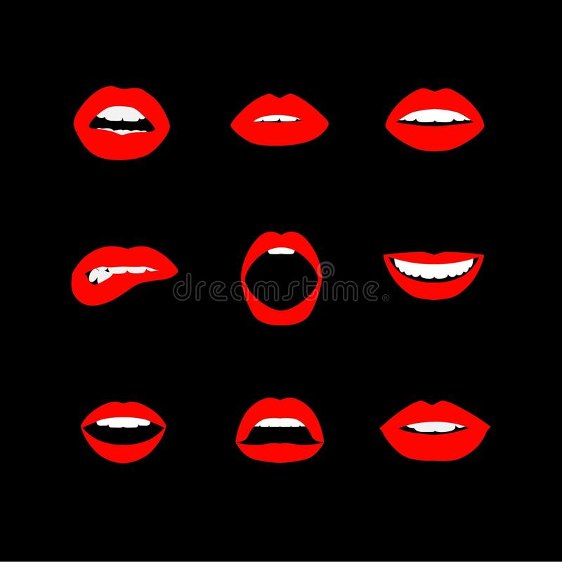 Vector set of women`s lips icons with red lipstick. Eps jpg vector illustration