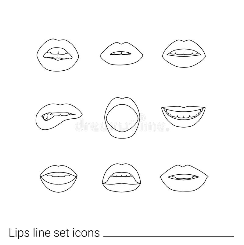 Vector set of women`s lips icons with red lipstick. Line art. Vector set of women`s lips icons with red lipstick stock illustration