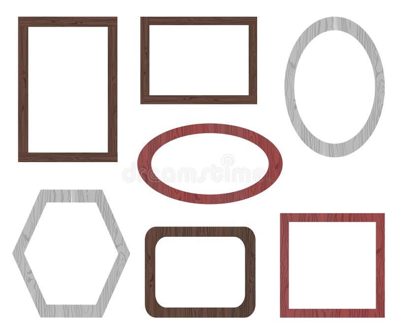 VECTOR set of wooden frames, white background. VECTOR set of different wooden frames isolated on white background stock illustration