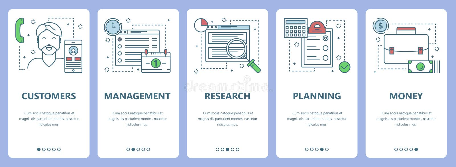 Vector modern thin line flat design workflow concept vertical banners. Vector set of workflow concept vertical banners. Customers, Management, Research, Planning stock illustration