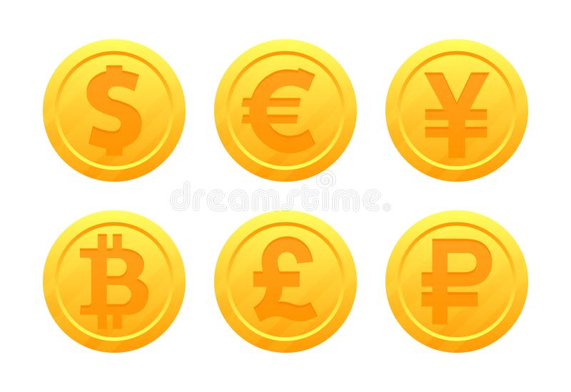 World currency symbols in the form of gold coins with signs: dollar, euro, pound, ruble, yen, bitcoin, yuan. Vector set of world currency symbols in the form of royalty free illustration
