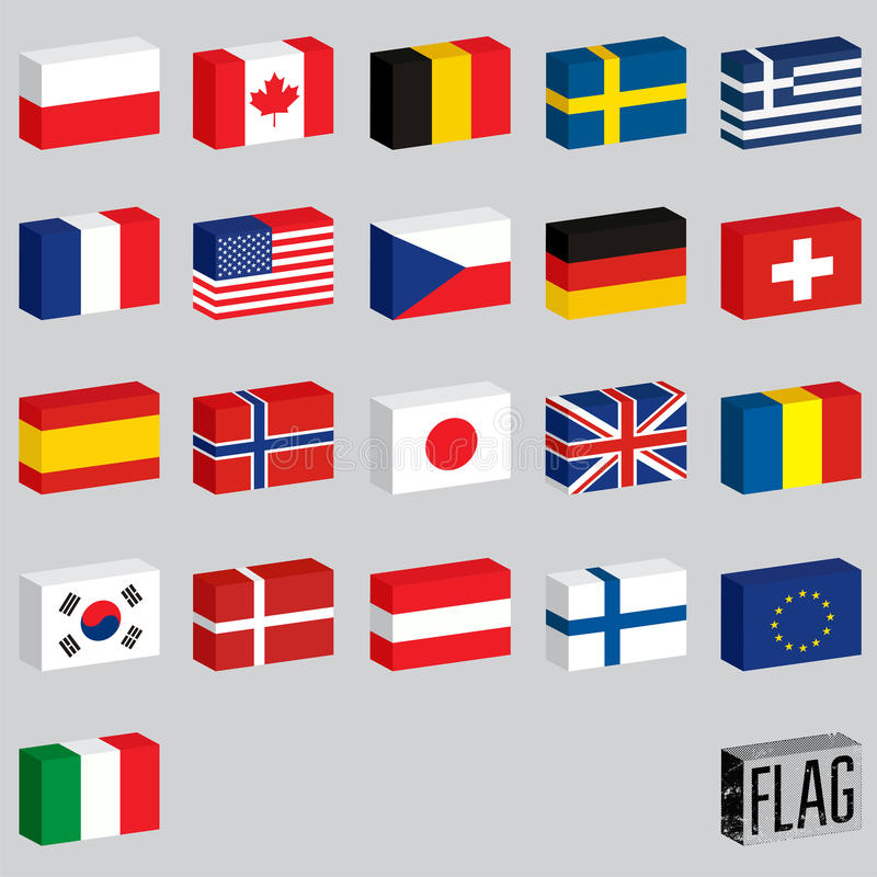 Vector set of world flags. Flags-boxes. vector illustration