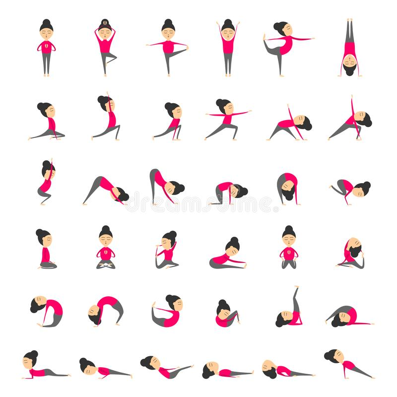 Vector set of yoga poses for health and flexibility. Woman yoga exercises for class or studio royalty free illustration