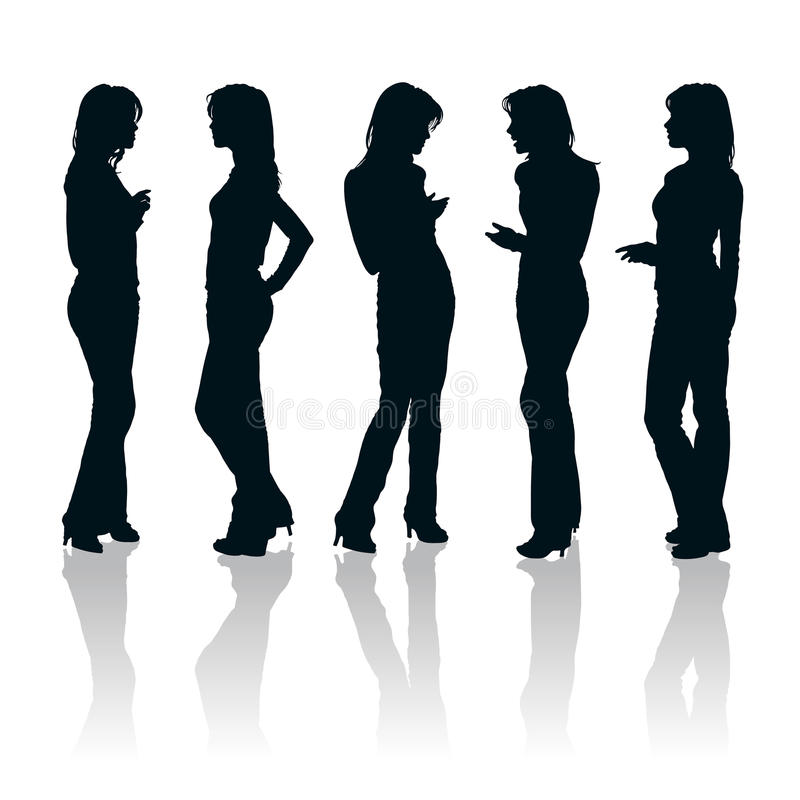 Young women silhouettes royalty free stock photos