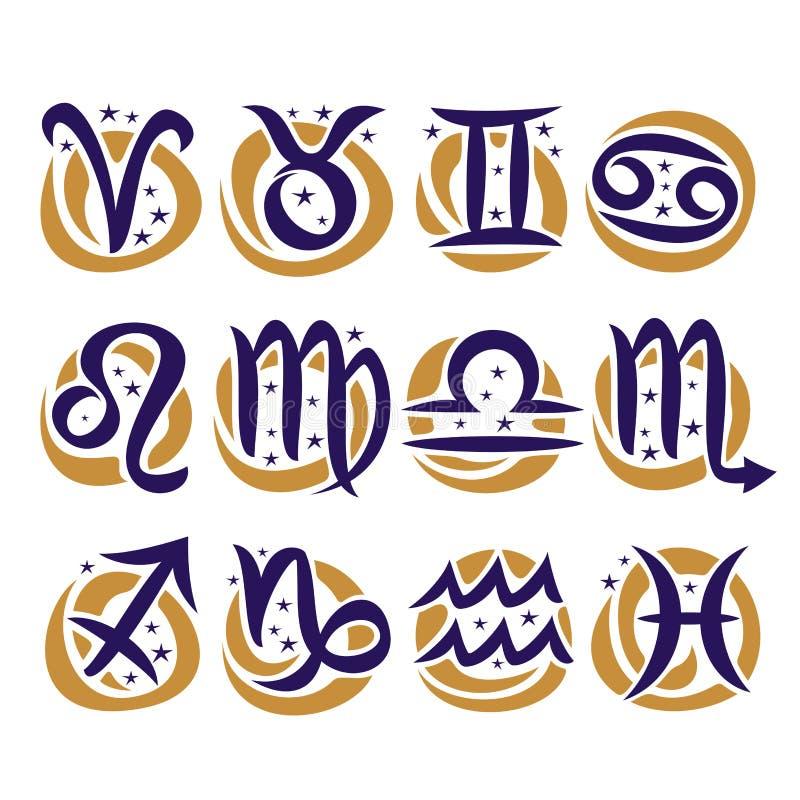 Vector set of Zodiac Signs royalty free illustration