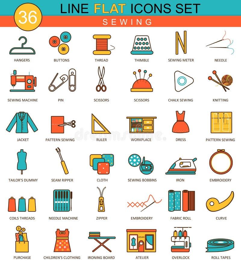 Vector Sewing flat line icon set. Modern elegant style design for web. vector illustration
