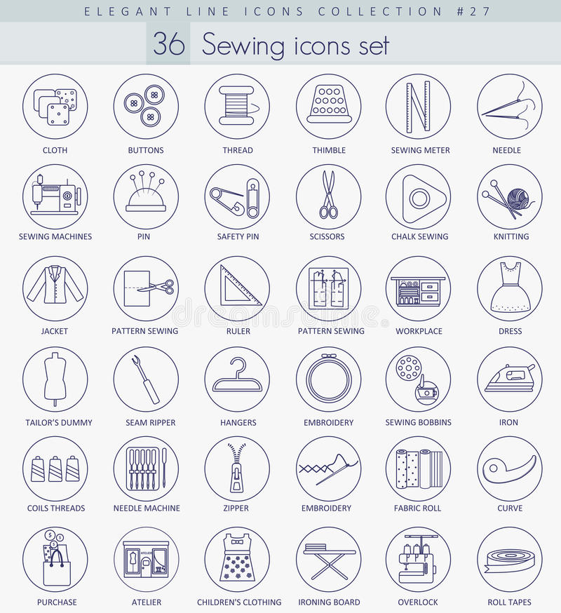 Vector Sewing outline icon set. Elegant thin line style design. royalty free illustration