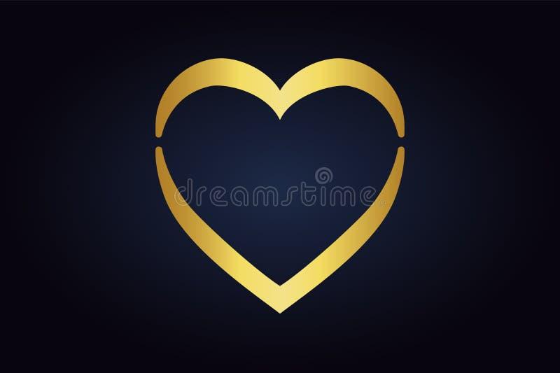 Vector shape of the heart on dark background. Simple romance. stock illustration