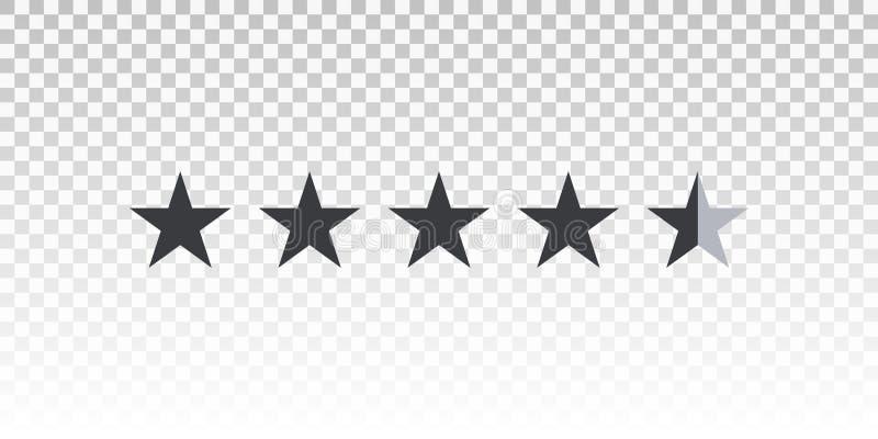 Vector shape star rating bar isolated on transparent background. Element for design your website or app.  vector illustration