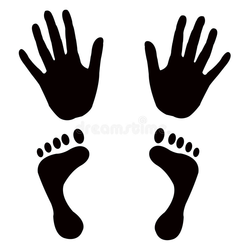 Vector shapes hands feet royalty free illustration