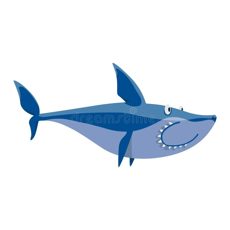 Vector shark character. Vector illustration toothy white swimming angry shark. Animal sea isolated shark character underwater cute marine wildlife mascot. Scary vector illustration