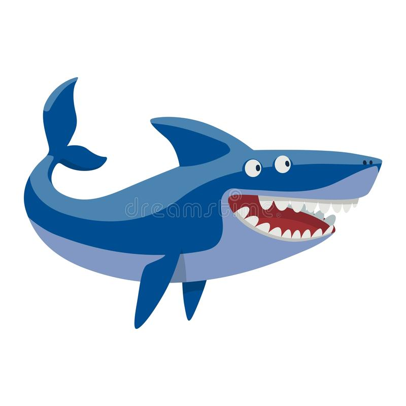 Vector shark character. Vector illustration toothy white swimming angry shark. Animal sea isolated shark character underwater cute marine wildlife mascot. Scary royalty free illustration