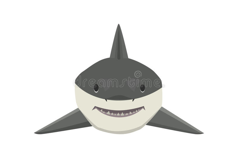 Vector shark character. Vector illustration toothy white swimming angry shark. Animal sea isolated character underwater cute marine wildlife mascot. Scary smile vector illustration
