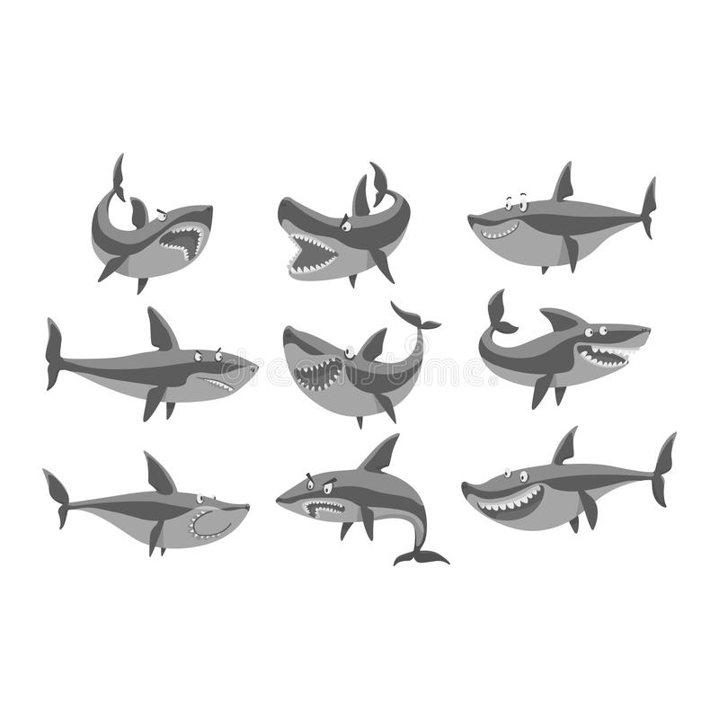 Vector shark character set. Vector illustration toothy white swimming angry shark. Animal sea isolated shark character underwater cute marine wildlife mascot vector illustration